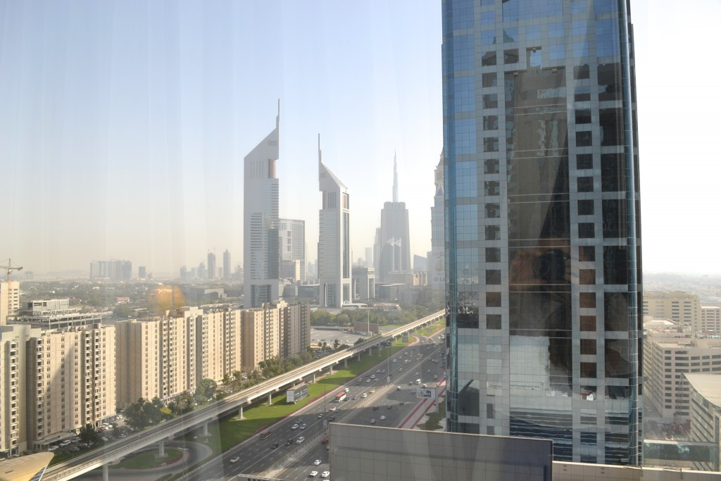 The view from my room, including the Burj Khalifa